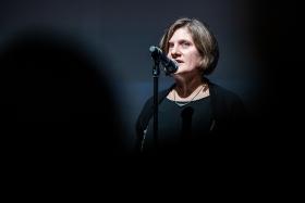 Oksana Sarkisova festival director gives her opening speech / Photo: Zoltán Adrián