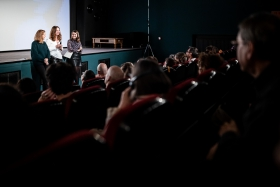 Q&A after the screening of Colectív with journalist and protagonist Mirela Neag / Photo: Zoltán Adrián